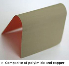 Composite of polyimide and copper