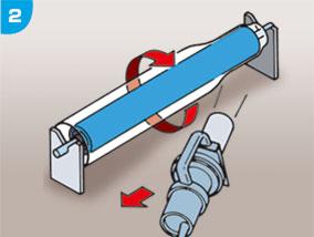 【手順2】 熱風ガンの向きは進行方向とは逆向き