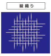 タテ糸がヨコ糸の上を2本(3本)、ヨコ糸の下を1本、交差させて織られる織組織。